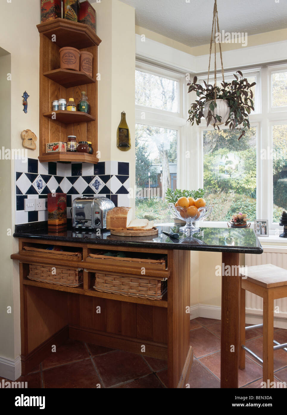 Gentil Small Wood Shelf Unit Above Granite Topped Breakfast Bar With Storage  Baskets Below Worktop In Country Kitchen