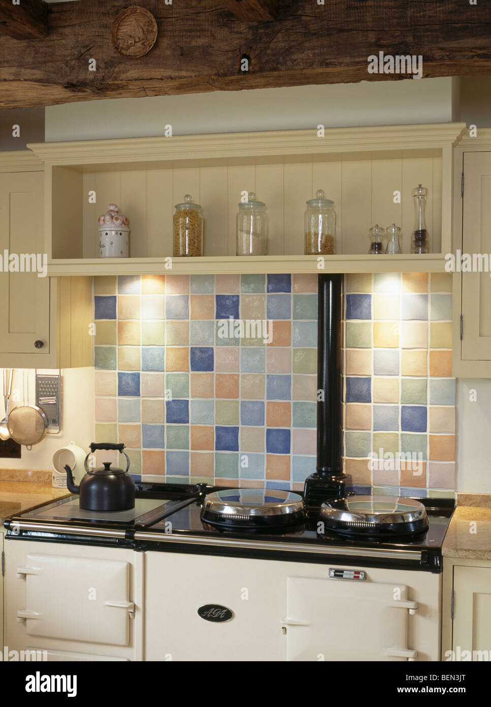Cream Shelf And Pastel Ceramic Tiled Splash Back Above