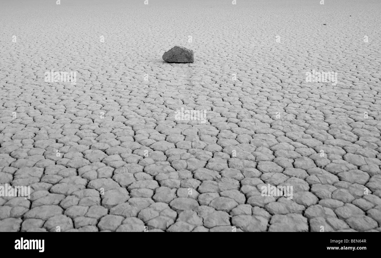 Cracked mud flats of the Playa in Death Valley National Park Stock Photo