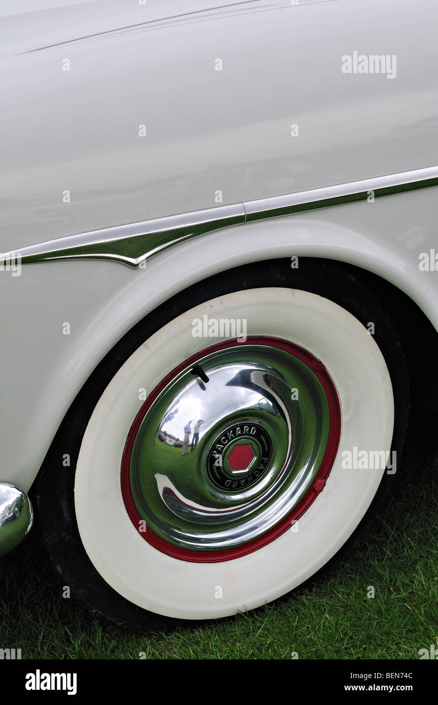 Packard wheel and wing at Boston Classic Car Show, Lincolnshire - Stock Image