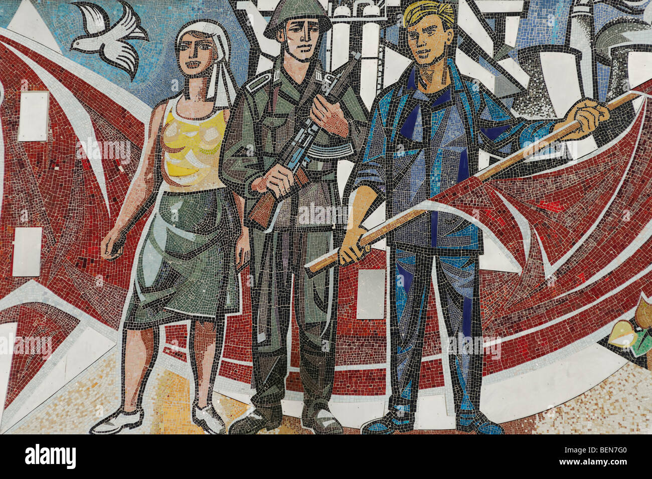 Berlin. Germany. Mosaic detail on the Haus des Lehrers. - Stock Image