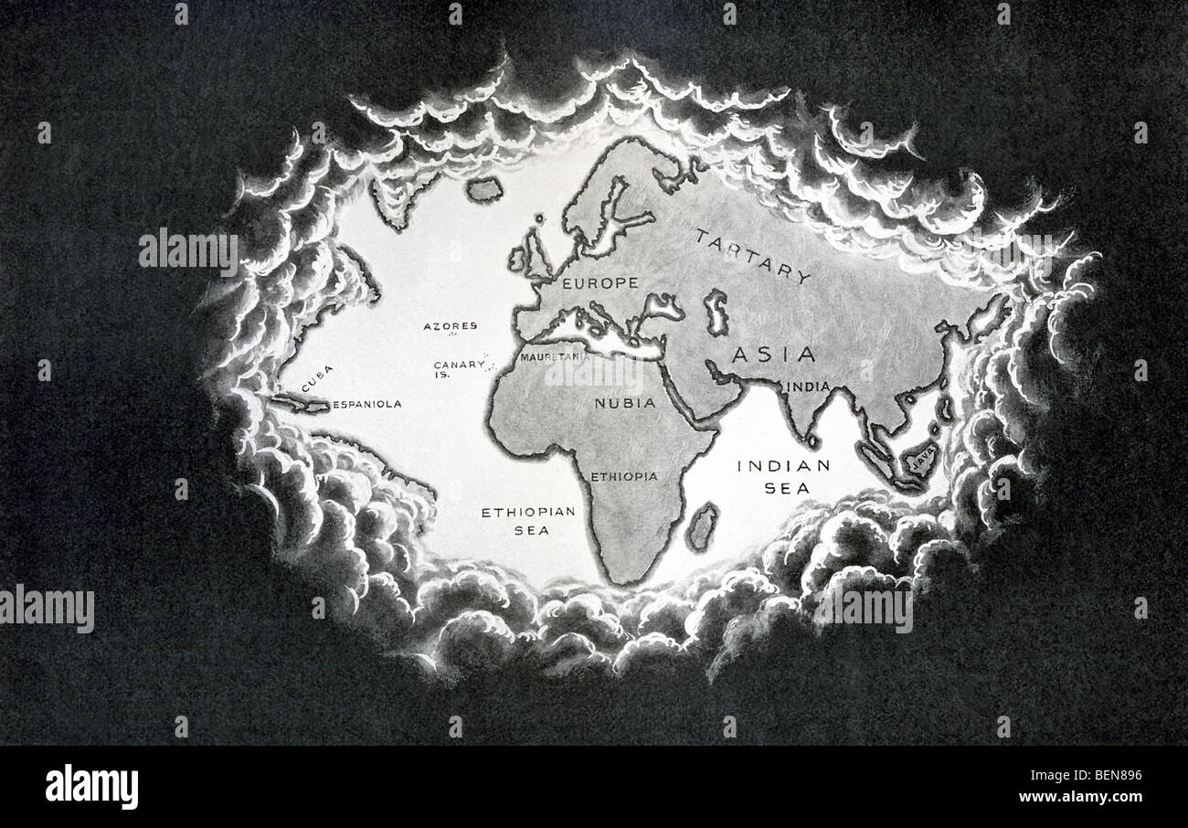 This map, which was published in the early 1900s, shows the world as Europeans saw it in 1500. - Stock Image