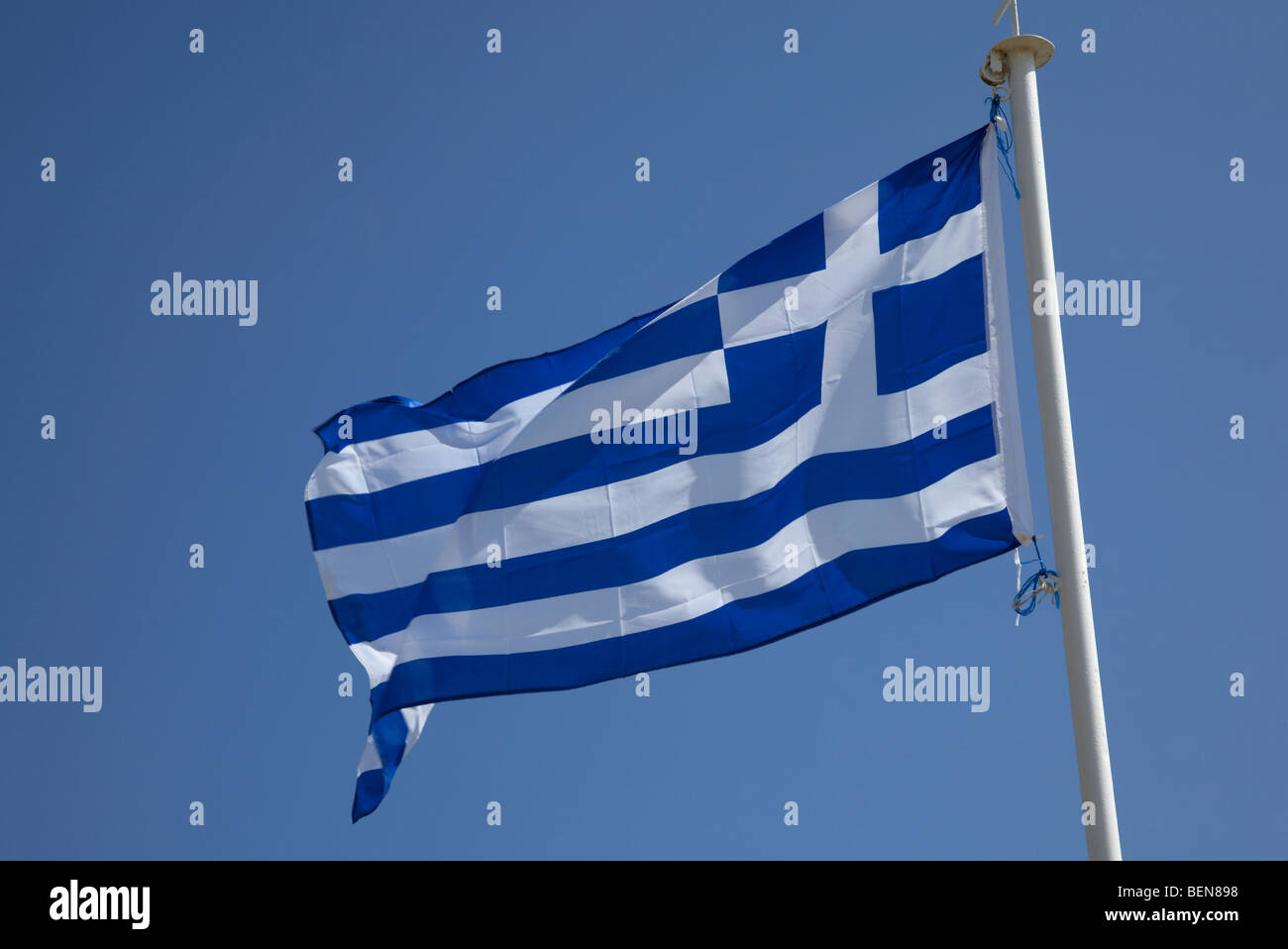 Greek national flag flying in the republic of cyprus - Stock Image