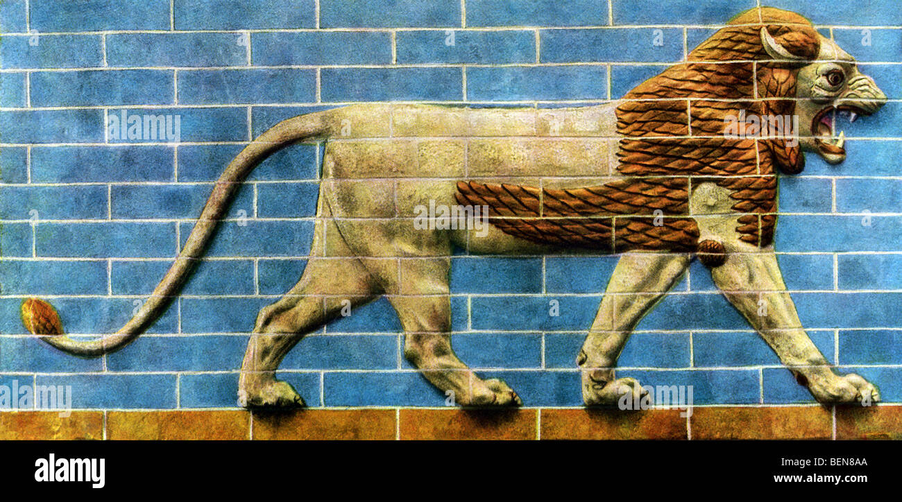 The walls along the Processional Way were decorated with glazed tiles and a frieze of 'walking' lions. - Stock Image