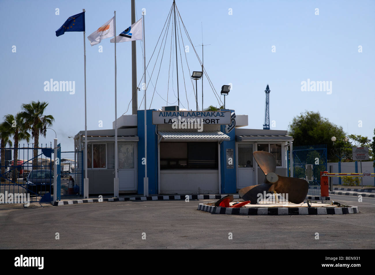 entrance to the port of larnaca republic of cyprus europe - Stock Image