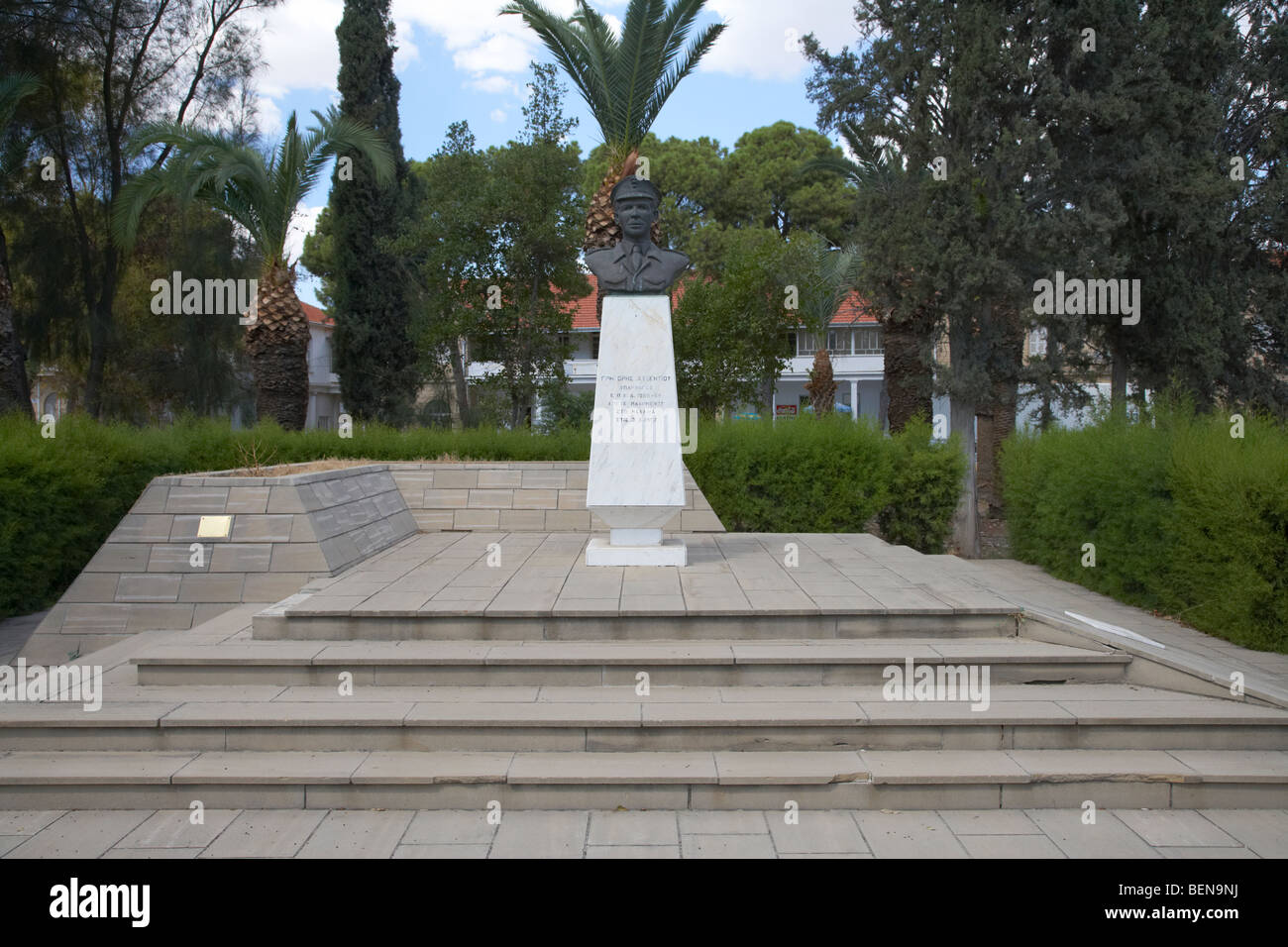 bust statue to eoka fighter Grigoris Afxentiou on the street of his name larnaca republic of cyprus - Stock Image