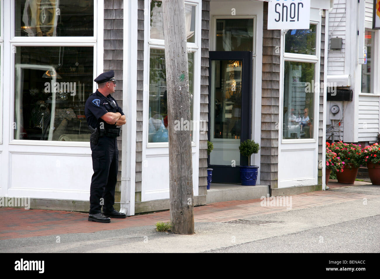 Beat cop in Provincetown, Cape Cod, Massachusetts, USA - Stock Image