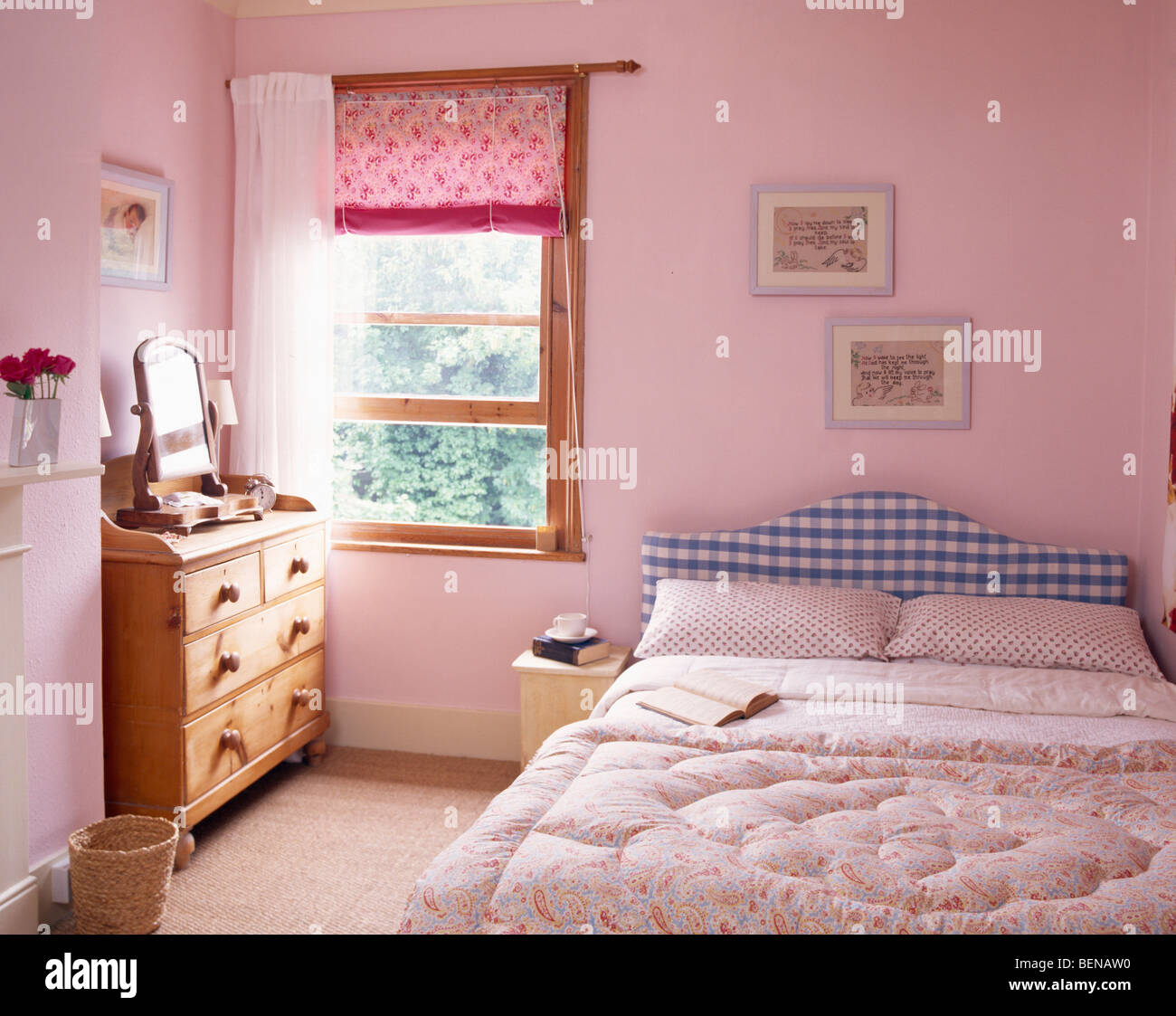 Pink Blind And White Curtain On Window In Pastel Country Bedroom With Eiderdown Bed Blue Checked Headboard