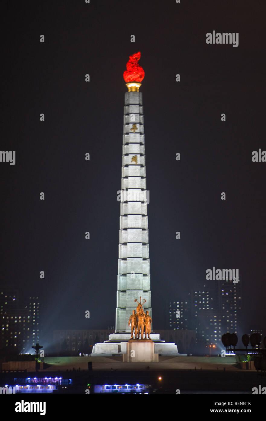 Tower of Juche Idea, night view, Pyongyang, North Korea - Stock Image