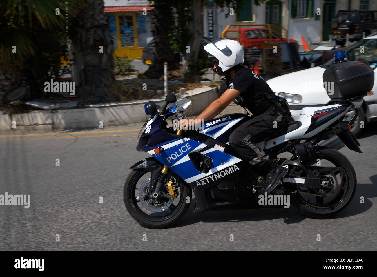 police officer on suzuki 1000 fast police motorcycle republic of cyprus police force Stock Photo