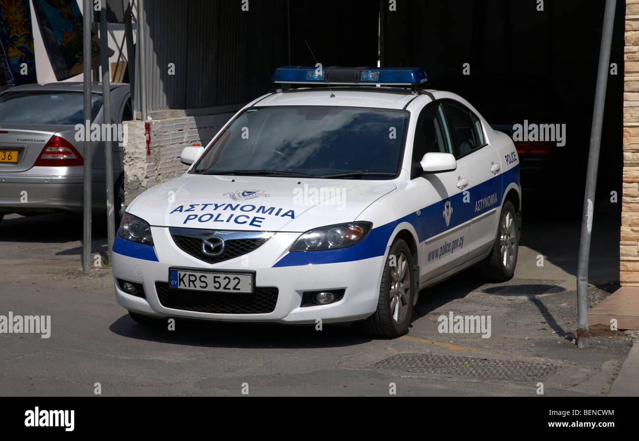republic of cyprus police force squad car parked in larnaca larnaka - Stock Image