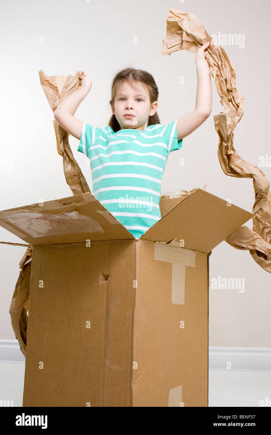 where is it? - girl found nothing in the box - Stock Image