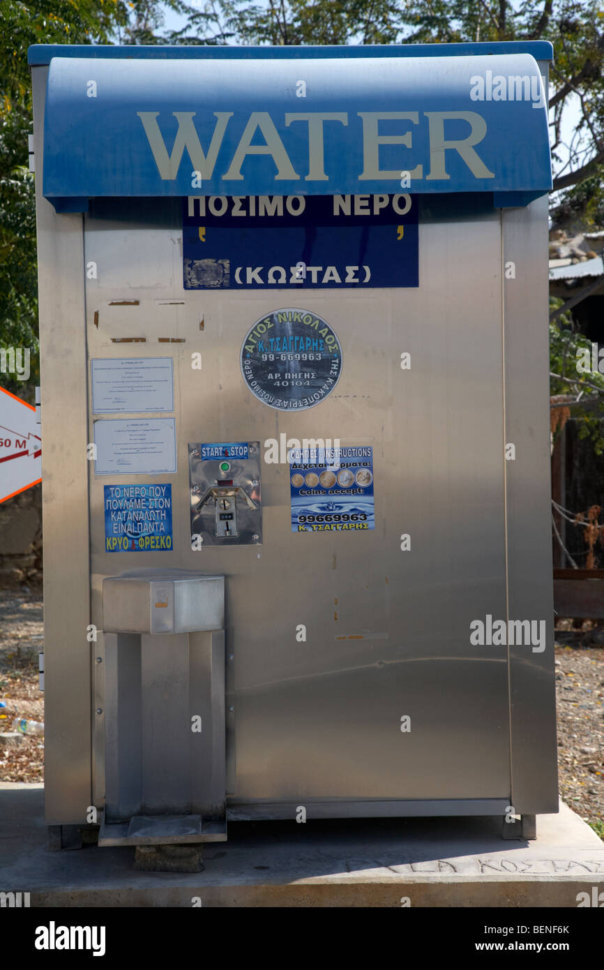 roadside domestic water vending machine in pyla republic of cyprus - Stock Image