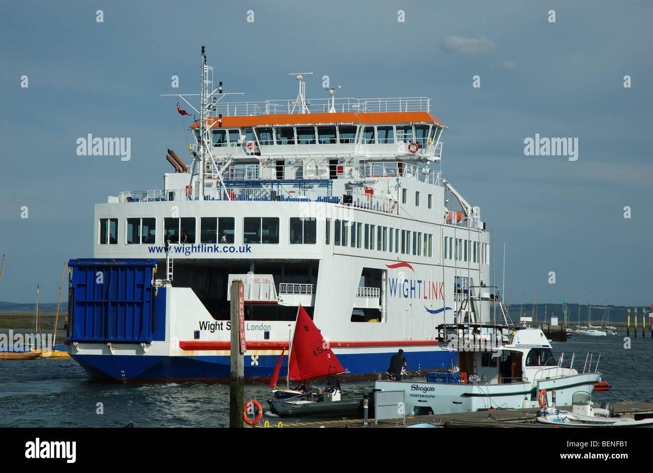 Isle of Wight, Wightlink, ferry departs Lymington, Hampshire, England, UK - Stock Image