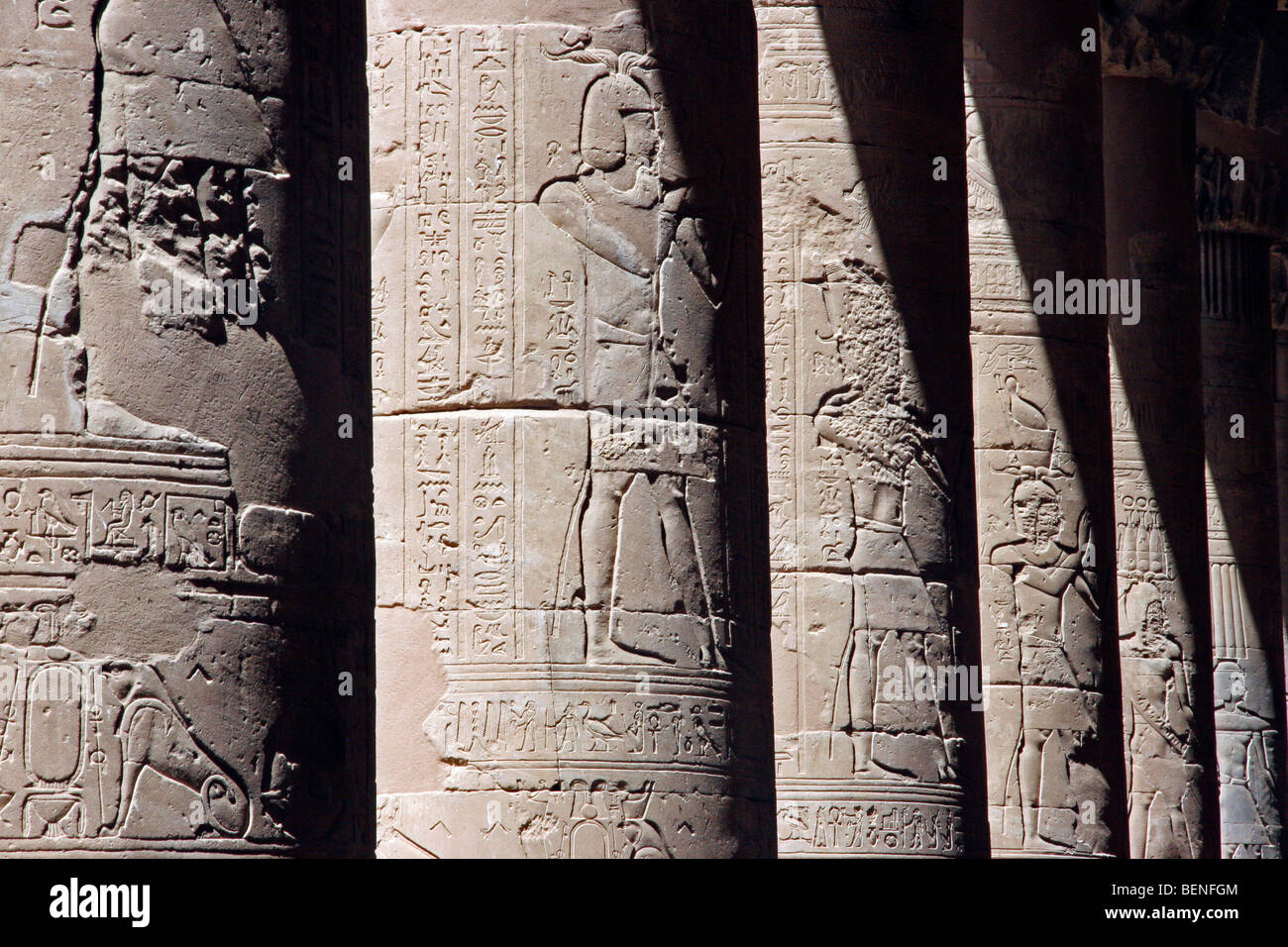 Egyptian hieroglyphs on pillars in the Temple of Edfu, ancient Egyptian Horus temple on the west bank of the Nile, - Stock Image