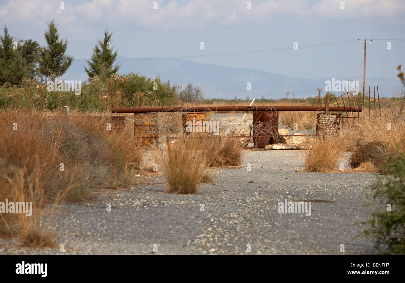 old abandoned road to nicosia in the UN buffer zone in the green line dividing north and south cyprus - Stock Image