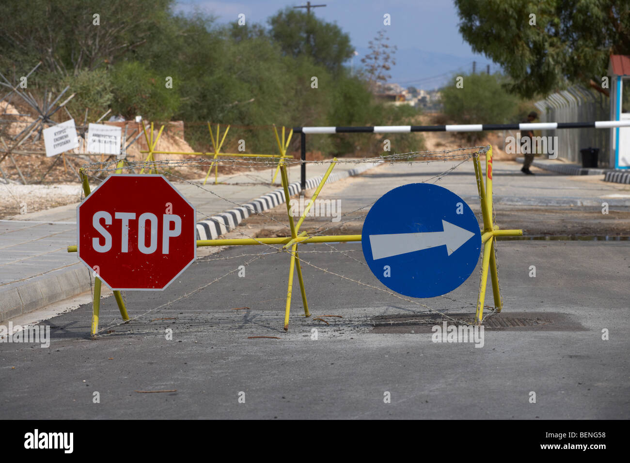 roadblock at greek cypriot border post at famagusta at the UN buffer zone in the green line dividing north and south - Stock Image