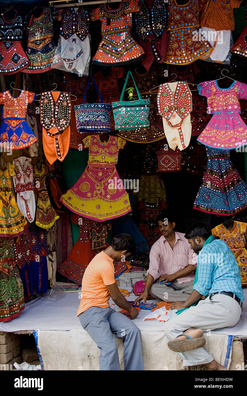 Decorative garments on display in Pushkar Rajasthan India - Stock Image