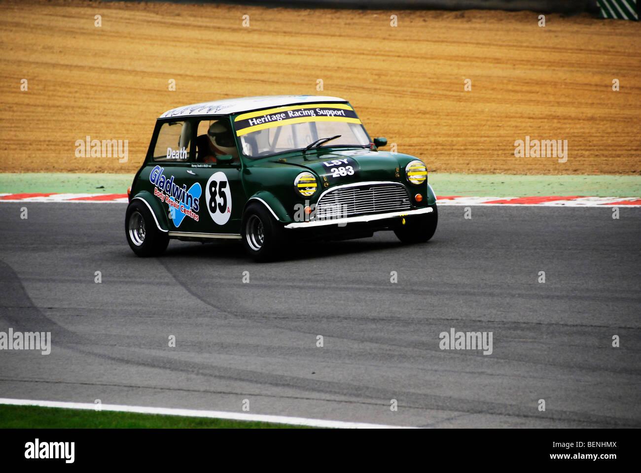 A vintage Austin Mini at Brands Hatch Kent England - Stock Image