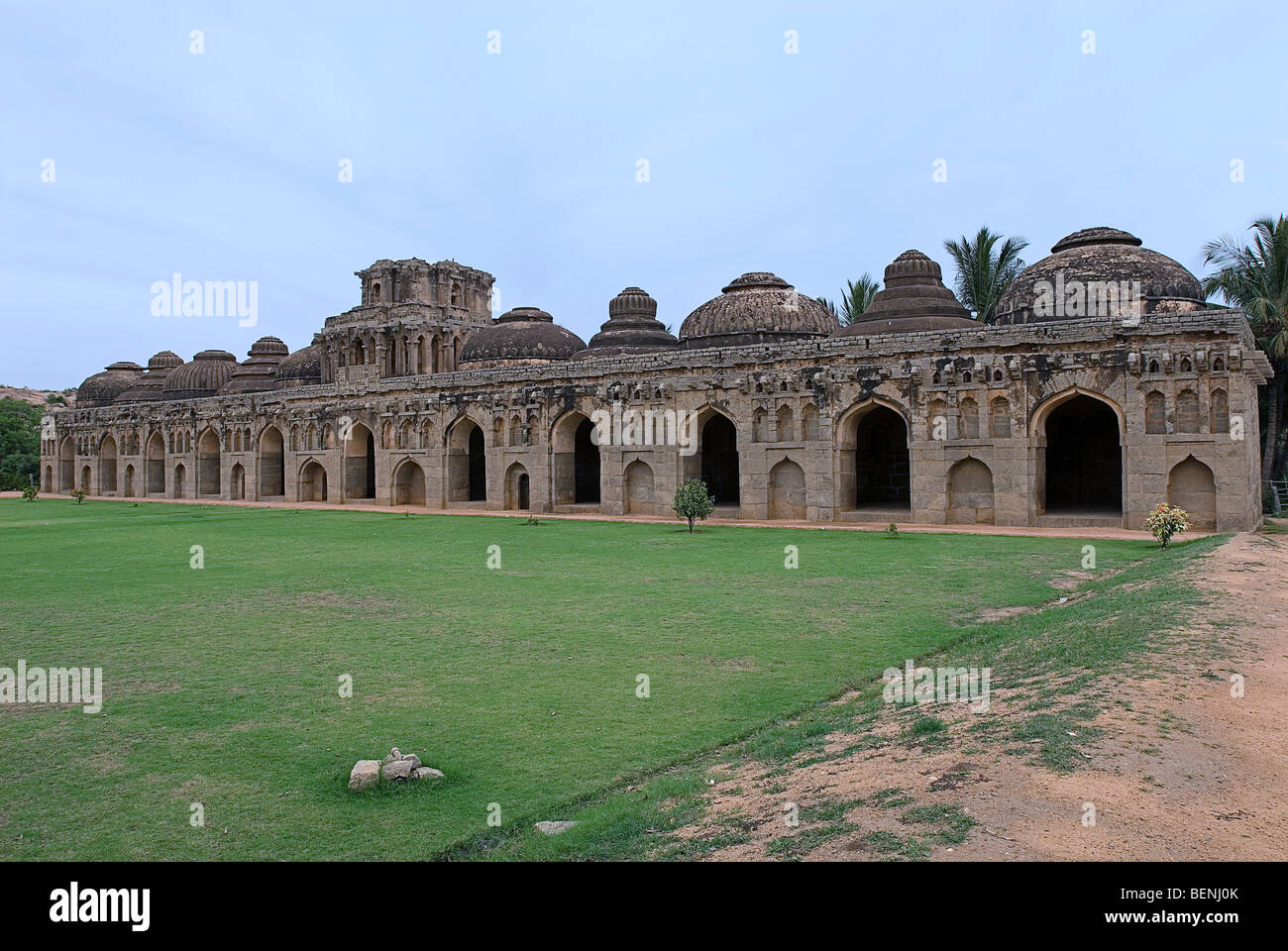 Elephant Stables a facade of arched openings and recesses in Bahmani style Hampi Karnataka India - Stock Image