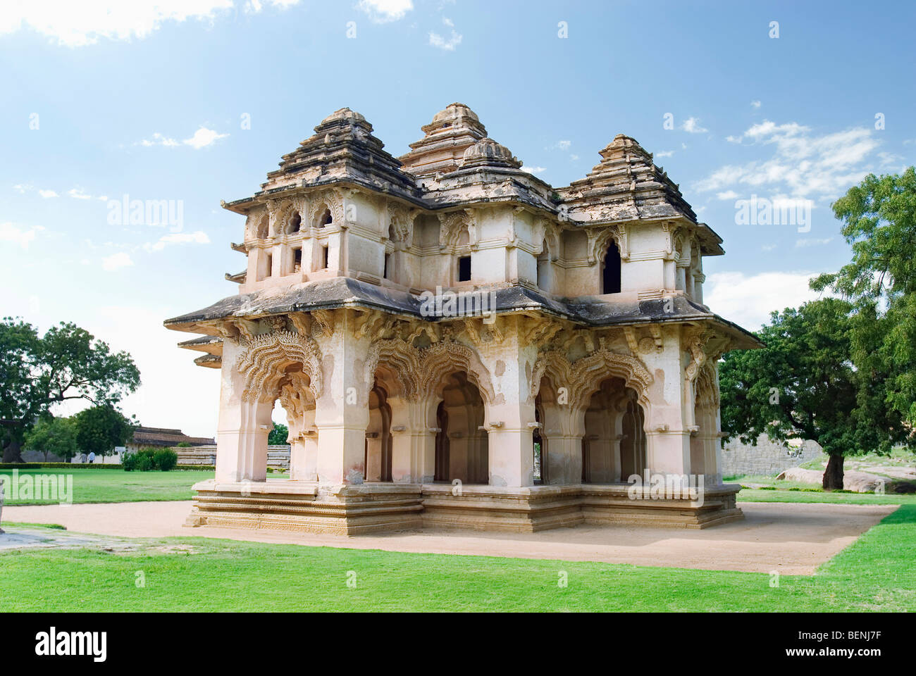 The lotus mahal shaped like a lotus flower from the top and has a the lotus mahal shaped like a lotus flower from the top and has a two story structure with beautiful arch ways set in geometric izmirmasajfo