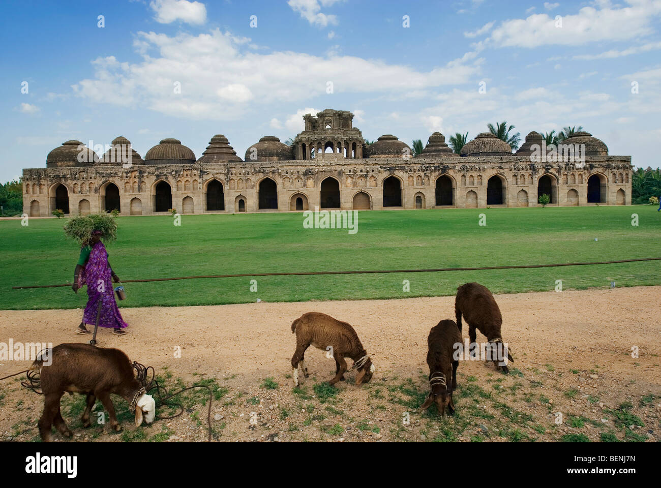 Elephant stables located outside the Zenana Enclosure are an oblong structure of considerable size consisting of - Stock Image