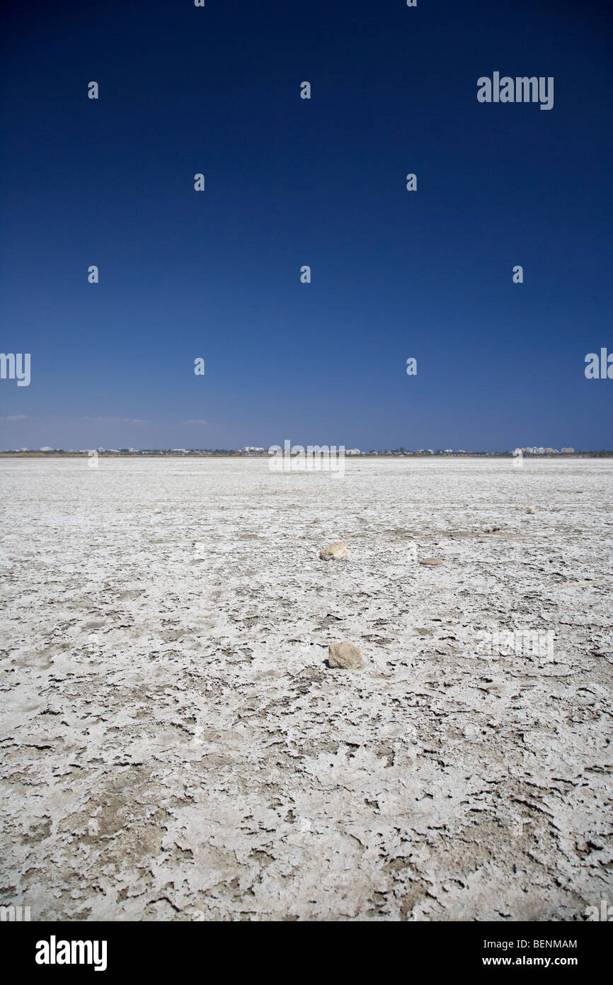 larnaca salt flats in the larnaka salt lake republic of cyprus europe Stock Photo