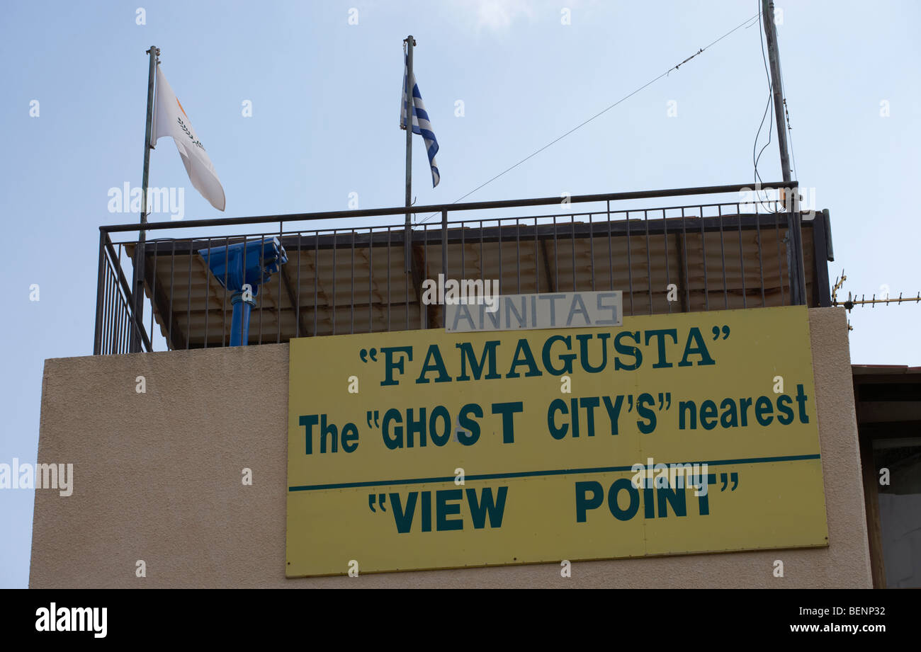 annitas viewpoint over the ghost city of famagusta and UN buffer zone in the green line dividing north and south - Stock Image