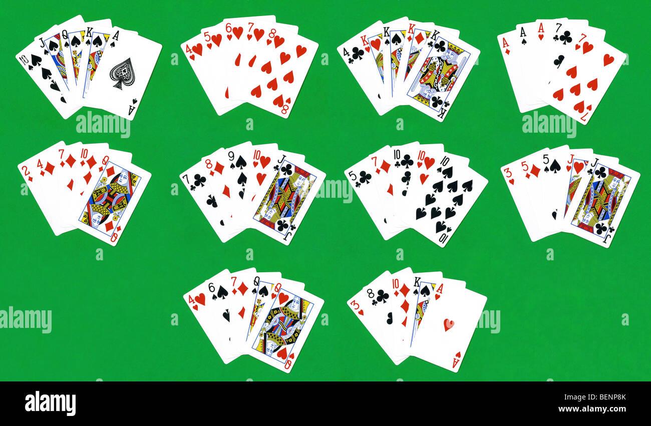 Poker hands - Stock Image