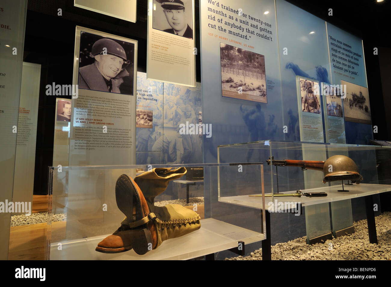 Interior of the WW2 museum at the Normandy American Cemetery and Memorial in Colleville-sur-Mer, Normandy, France Stock Photo