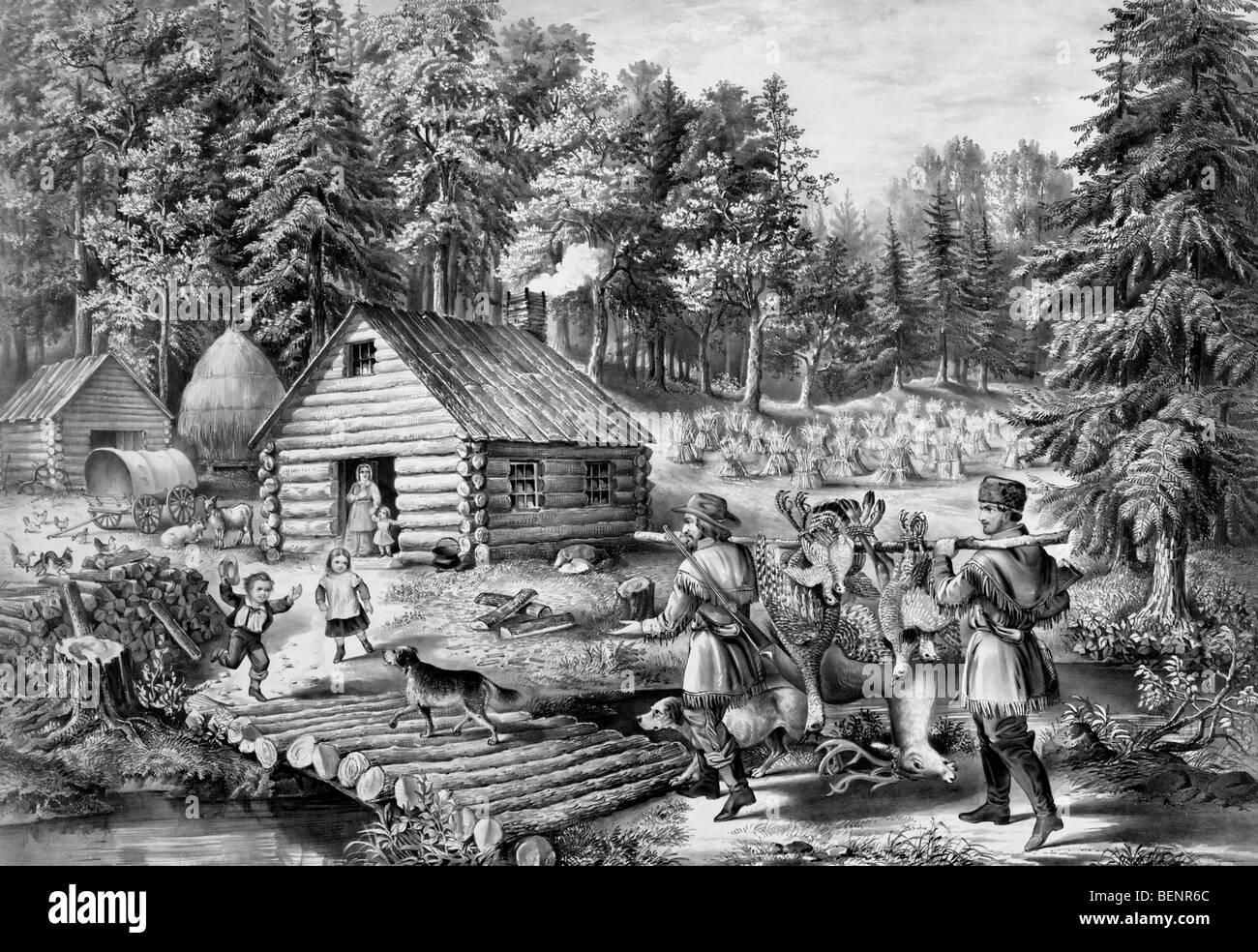 The pioneer's home: on the western frontier, circa 1867 Stock Photo