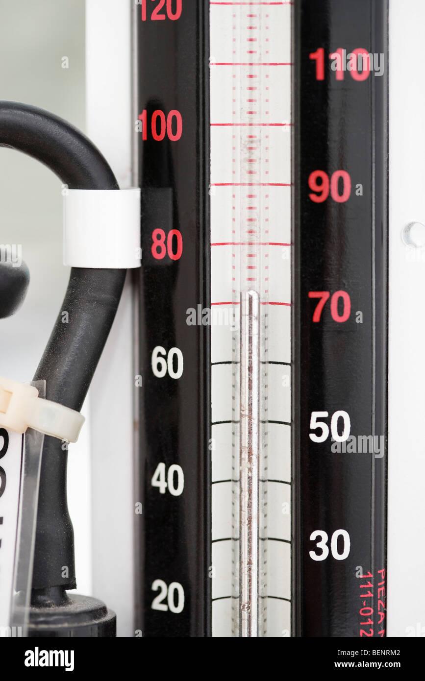 Blood pressure gauge, close-up - Stock Image