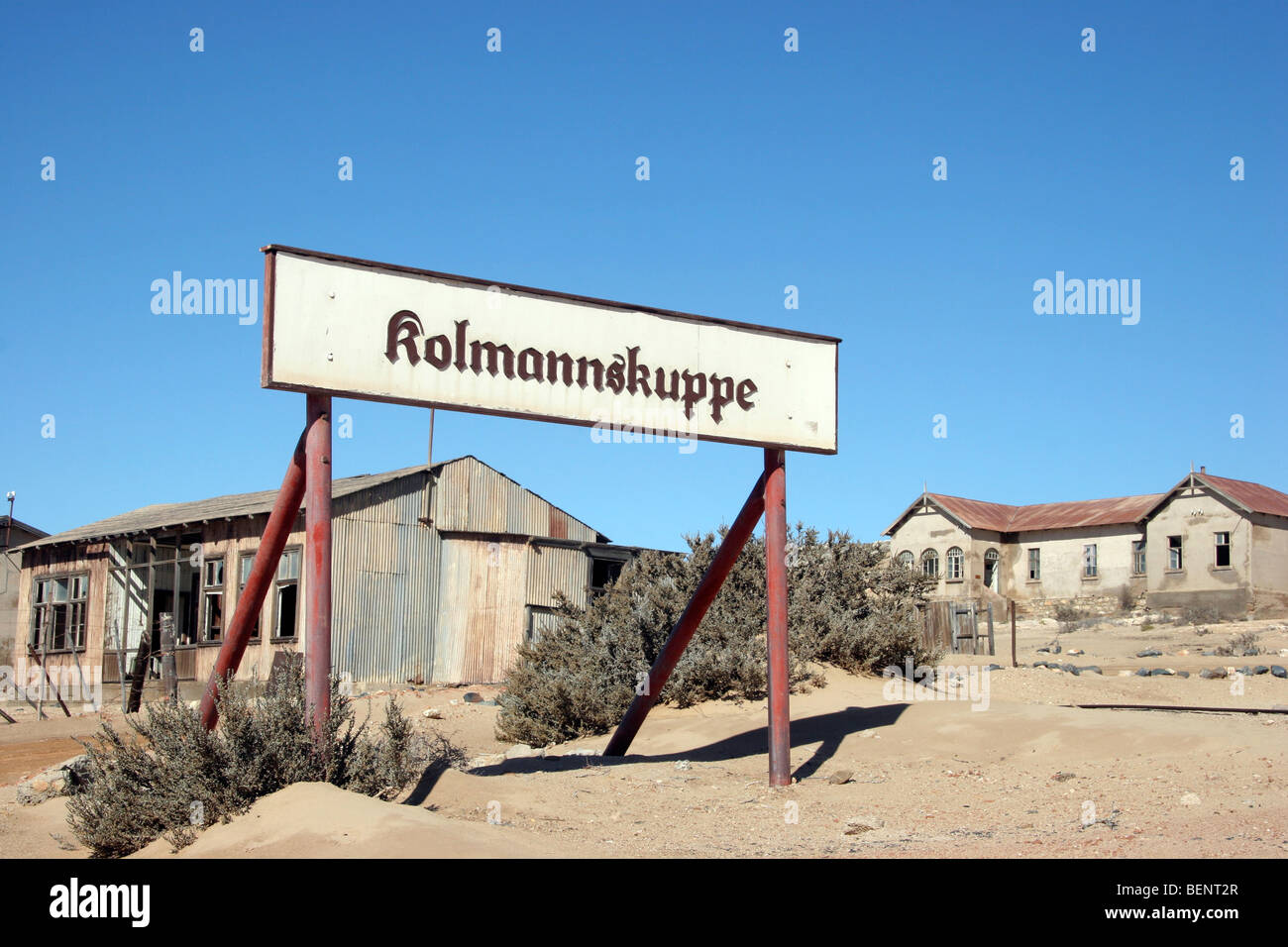 Sign of the ghost town Kolmanskop, an abandoned mining town in the desert, Luderitz, Namibia, South Africa - Stock Image