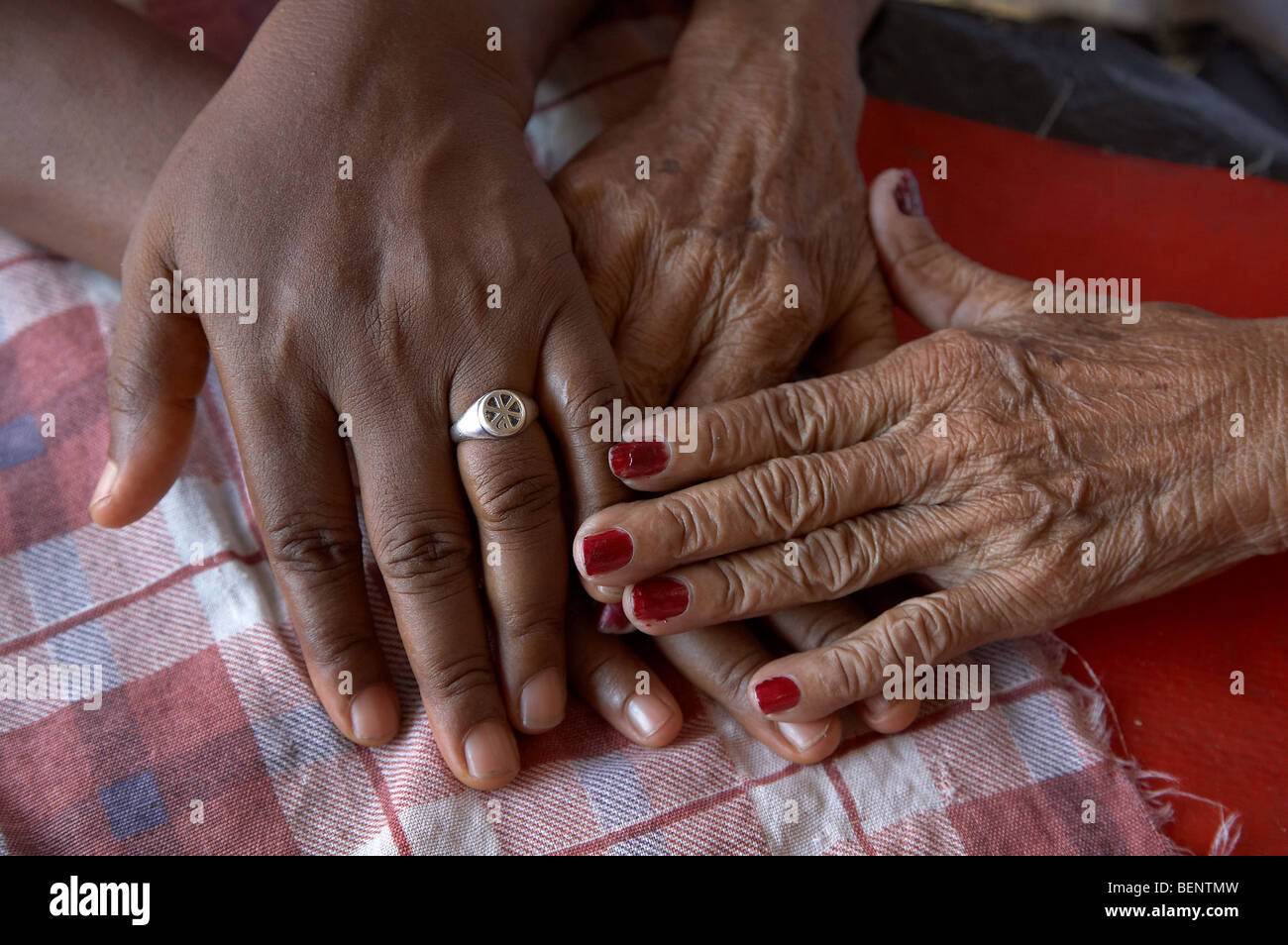 BRAZIL Hands of  people in the favela of Ferina in Joao Pessoa, Paraiba State. Stock Photo
