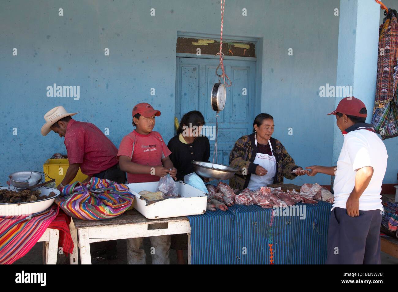 GUATEMALA Local maket at Lemoa, El Quiche. Butchers stall. PHOTOGRAPH by SEAN SPRAGUE - Stock Image