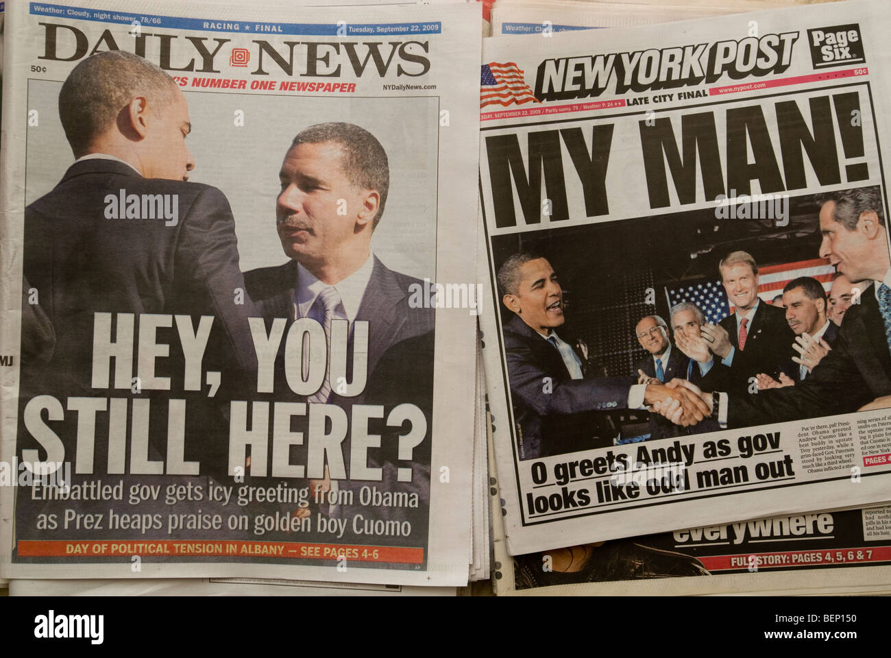 The New York Daily News and New York Post newspaper headlines Stock Photo