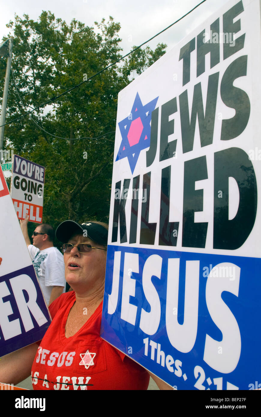 Members of the Westboro Baptist Church protest in front of Brooklyn Technical High School in New York - Stock Image