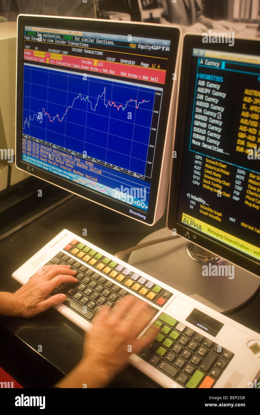 A Bloomberg LP financial data terminal - Stock Image