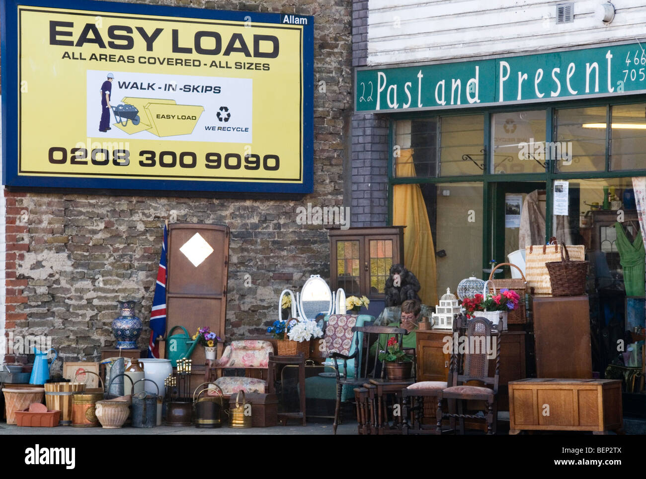 A second-hand shop in South London - Stock Image