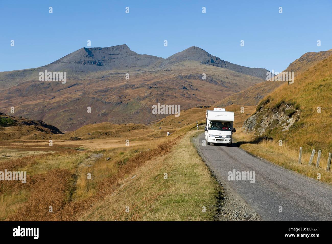 motorhome on road, glen more, isle of mull, scotland - Stock Image