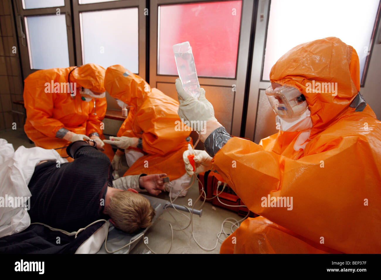 Exercise of a fire brigade, mass vaccination of people against a virus, pandemic exercise, Essen, Germany. Stock Photo