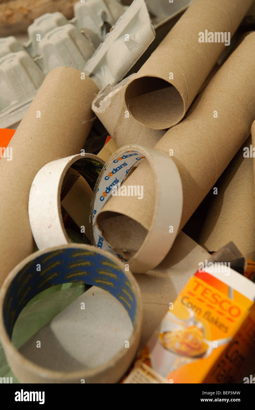 Cardboard tubes ready for recycling and re-use UK - Stock Image