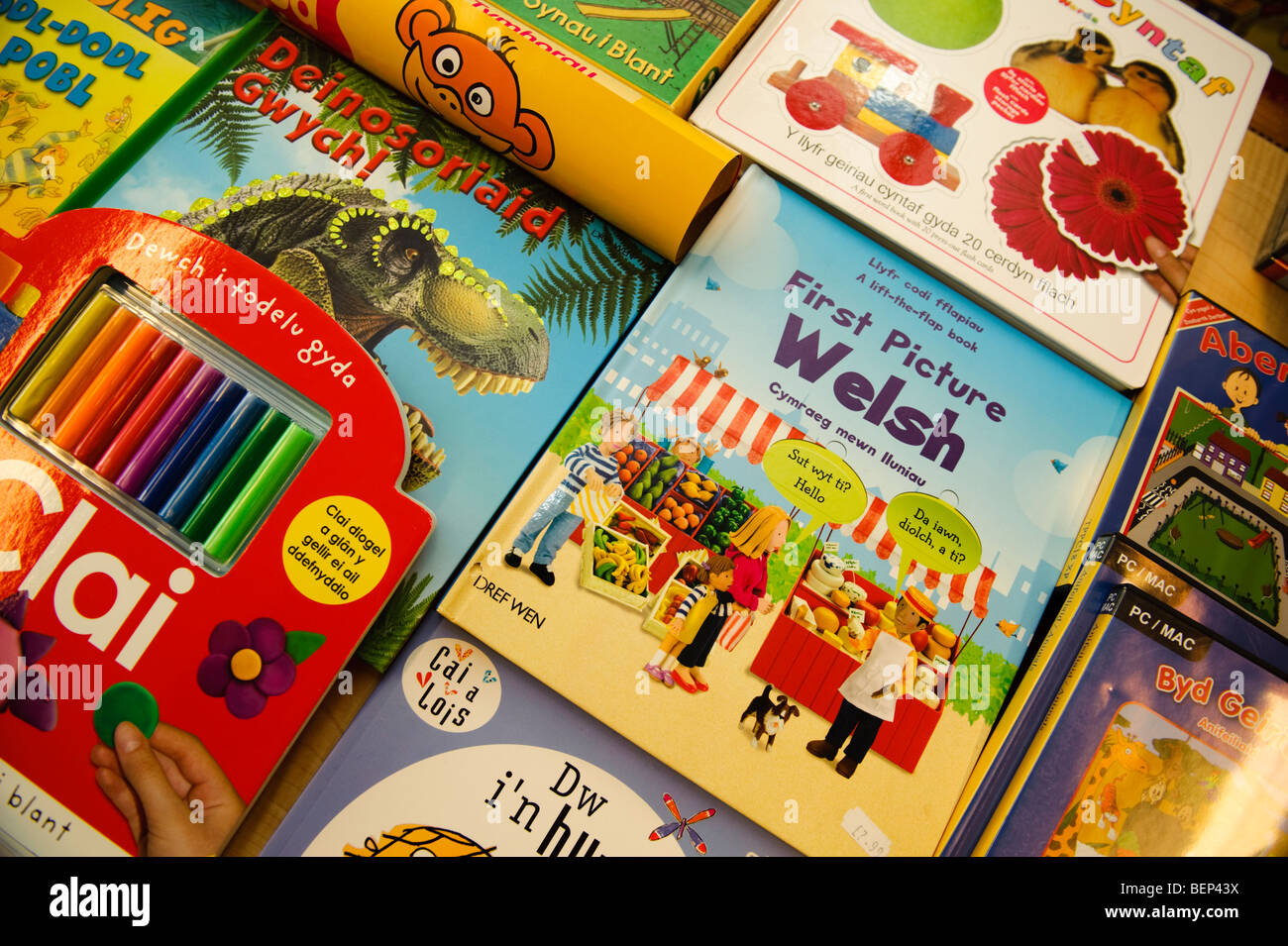 Welsh language early years learning materials - books - Stock Image