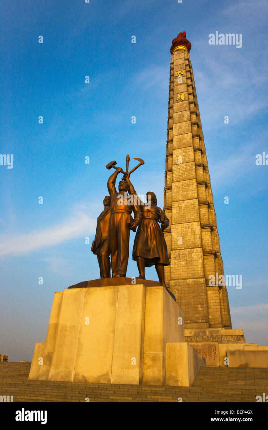 Tower of Juche Idea and statues, Pyongyang, North Korea - Stock Image