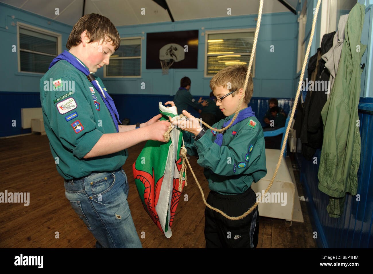 First llanelli Boy Scouts with the red dragon welsh flag in their clubhouse renovated with money from the Big Lottery - Stock Image