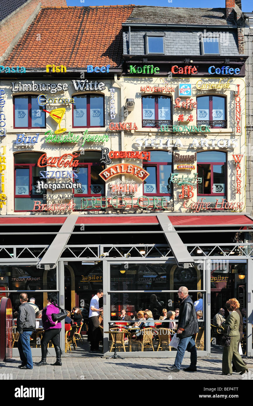 Neon advertising of beers and alcoholic drinks on façade of brasserie at the Market Place in Hasselt, Limburg, - Stock Image