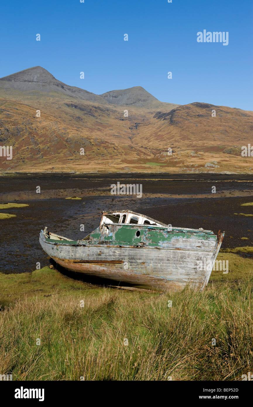 wrecked boat, glen more, isle of mull, scotland - Stock Image