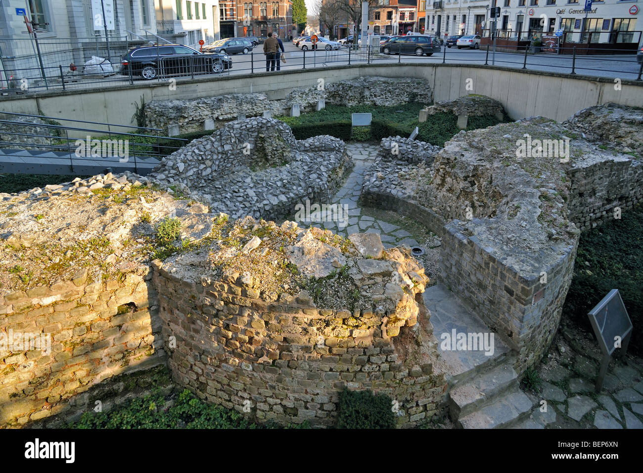 Archaeological site showing foundations of Roman tower, Tongeren, Belgium - Stock Image