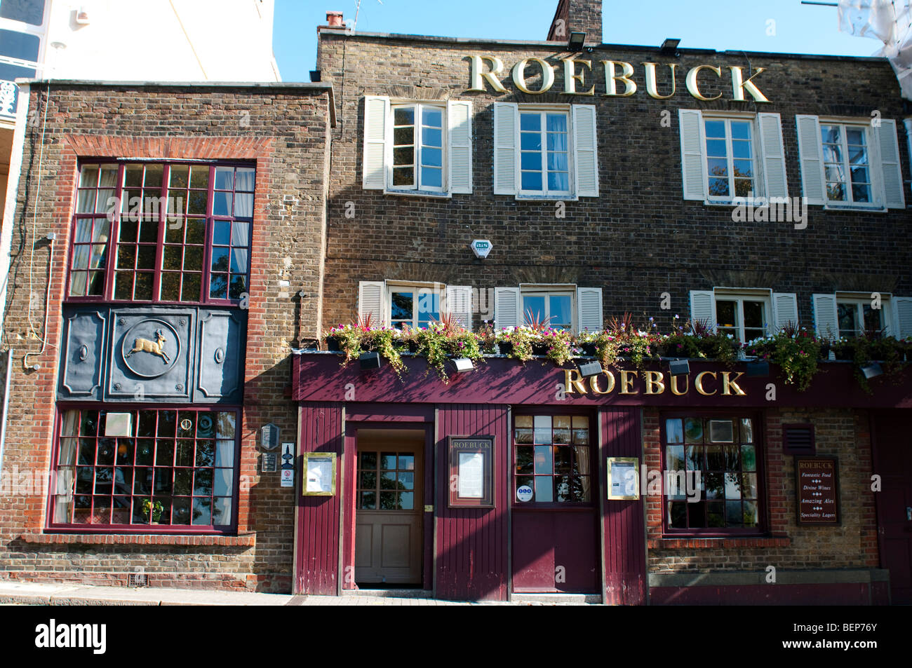 Roebuck pub on Richmond Hill, Richmond, Surrey, UK - Stock Image