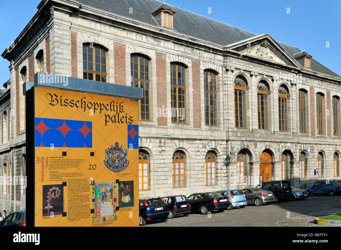 The episcopal palace at Tournai, Belgium - Stock Image